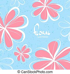 rosa, fiori blu, fondo