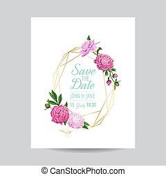 rosa, fiori dorati, manifesto, scheda, cornice, banner., text., augurio, illustrazione, invito, data, peonies., vettore, sagoma, matrimonio, floreale, posto, geometrico, risparmiare, tuo