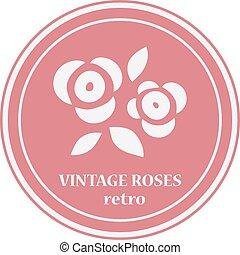 rosa, fiori, logo.