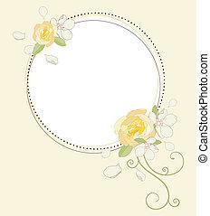 rosa, fiori, mela, frame.