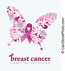 rosa, fjäril, cancer, affisch, stöd, bröst, band