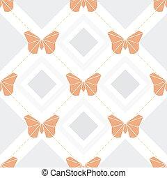 rosa, fjäril, mönster, seamless, bakgrund, origami