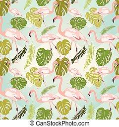 rosa flamingo, mönster, leaves., seamless, hand, oavgjord, monstera