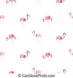 rosa flamingo, pattern., seamless, hand, oavgjord, tecknad film