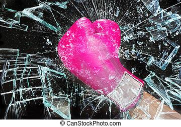 rosa, flickan driver, inridning, glass..