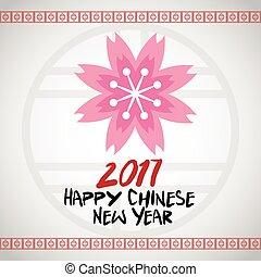 rosa, flor, chino, año, nuevo,  2017