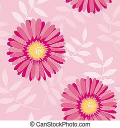 rosa, floral, aster, seamless, patrón