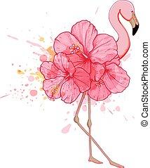 rosa, floral, flamenco