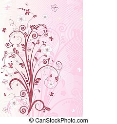 rosa, floral, marco, (vector)