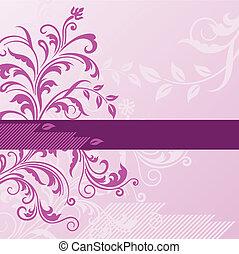 rosa, floral, plano de fondo, con, bandera
