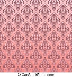 rosa, floral, seamless, patrón