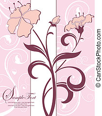 rosa, floreale, scheda, invito