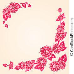 rosa florece, en, el, floral, tarjeta, esquina