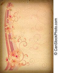 rosa florece, en, viejo, papel