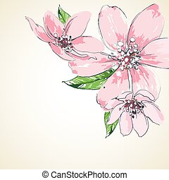 rosa florece, plano de fondo, esquina, decoración