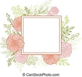 rosa florece, y, hojas verdes