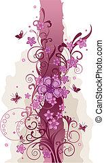 rosa florece, y, mariposas, frontera