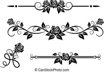 rosa, flores, con, vendimia, elementos
