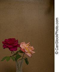 rosa, flores, grunge, plano de fondo