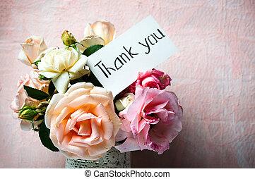 rosa, flores, ramo, en, un, florero, con, un, nota