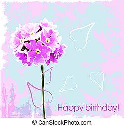 rosa, flowe, tarjeta de cumpleaños, feliz
