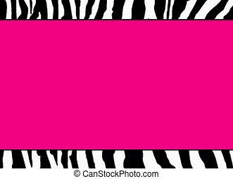 rosa, fluorescente, zebra, plantilla
