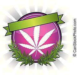 rosa, foglia, marijuana, canapa, vettore, disegno, ...