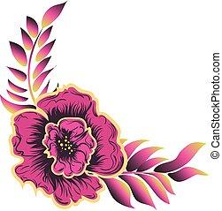 rosa, foglie, fiore