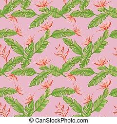 rosa, foglie, seamless, tropicale, sfondo verde, fiori arancia, composizione