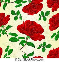 rosa, folhas, seamless, textura, vector.eps, caule, vermelho