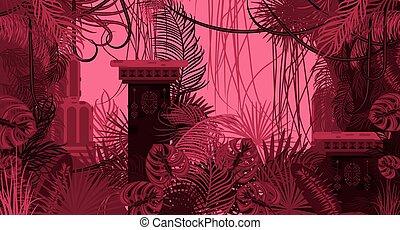 rosa, follaje denso, exótico, naturaleza, fondo.
