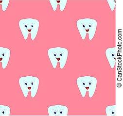 rosa, fondo., modello, seamless, illustrazione, bambini, tema, vettore, dentistry., denti, teeth.
