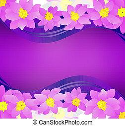 rosa, fondo oscuro, magenta, flores, frontera