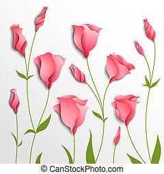 rosa, fondo., vector, flor, eustoma