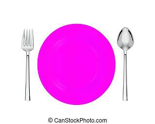 rosa, forchetta, piastra, isolato, cucchiaio, bianco