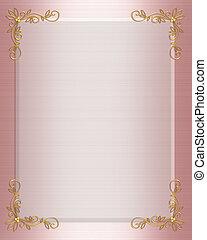 rosa, formell, gräns, inbjudan