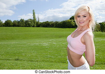 rosa, frau, anfall, oberseite, junger, blond