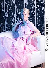 rosa, frau, kleiden, junger