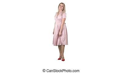 rosa, frau, mögen, sie, hintergrund., selbst, drehen, aussehen, spiegel, machen, weisses kleid