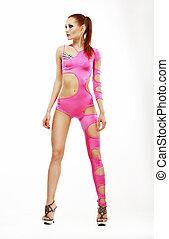 rosa, frau, theater., costume., schauspieler, posierend, asiatisch, glamor, buehne