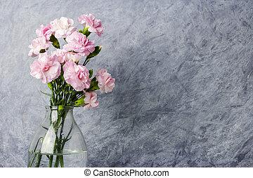 rosa, fri, Blomstrar, flaska, nejlika