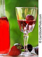 rosa, fruits., vino