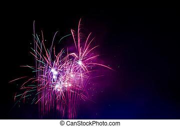 rosa, fuegos artificiales, celebración