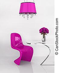 rosa, furniture., loft., moderno, re, interior., minimalismo, sedia, 3d