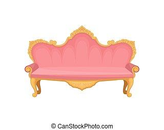 rosa, furniture., sofá, fondo., blanco, princesa
