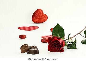 rosa, gambo, lungo, caramella, cioccolato