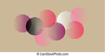 rosa, geometri, abstrakt, pattern., formar, runda