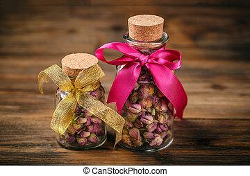 rosa, germogli, vasi, vetro