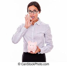 rosa, geschäftsfrau, berufung, schweinchen, besitz, bank