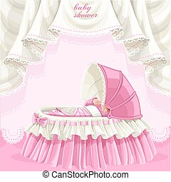 rosa, geschenkparty, karte
